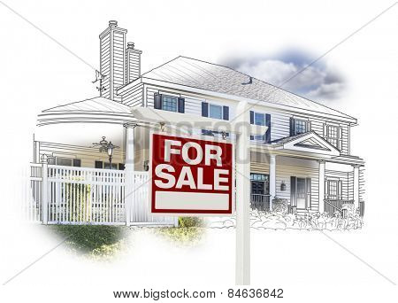 Custom House and For Sale Real Estate Sign Drawing and Photo Combination on White.