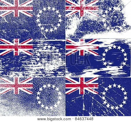 Flag Of Cook Islands With Old Texture. Vector