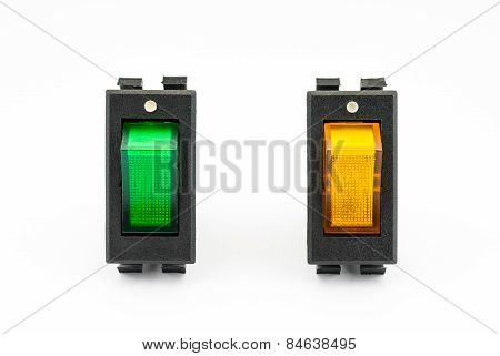 Green And Yellow Rocker Switches With Light