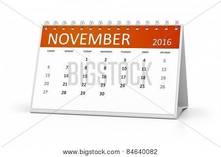 An image of a table calendar for your events 2016 November