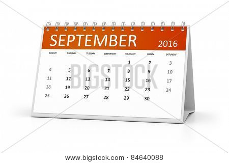 An image of a table calendar for your events 2016 september