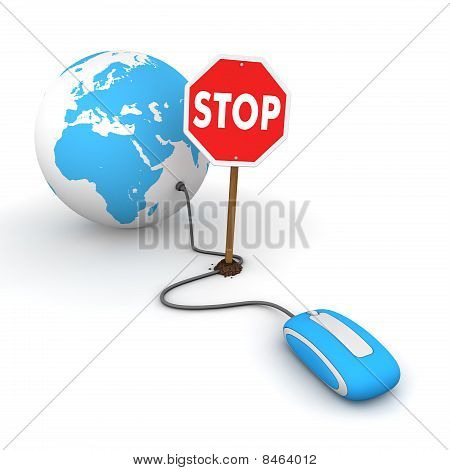 Surfing The Web In Blue - Blocked By A Stop Sign