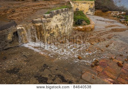 Stream Of Thermal Water Flowing Down The Steps At Loutra Edipsou, Evia, Greece