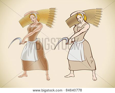 Retro styled image of a peasant woman with a sickle in her hand. Editable vector illustration.