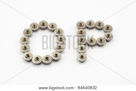 O And P Alphabet, Created By Stainless Steel Hex Flange Nuts