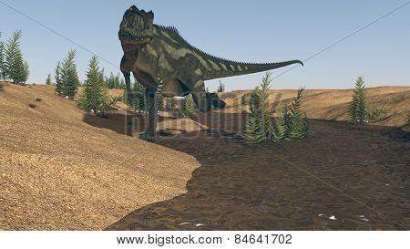 yangchuanosaurus on river bank