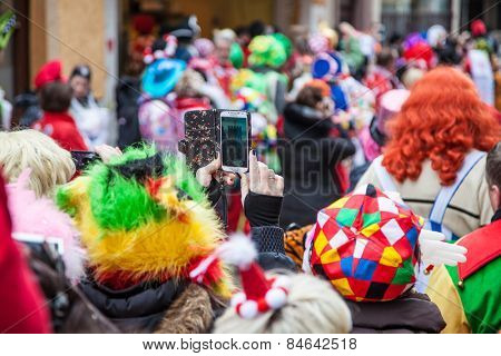COLOGNE, GERMANY - February 16th, 2015: People celebrating shrove monday procession in Cologne, Germany. The theme has been