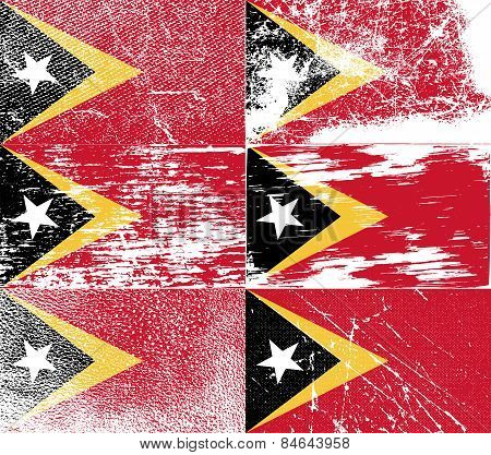 Flag Of East Timor With Old Texture. Vector