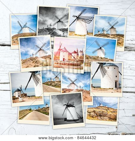 collage windmills of don quixote in cervantes consuegra castile-la mancha  spain  europe on wooden table