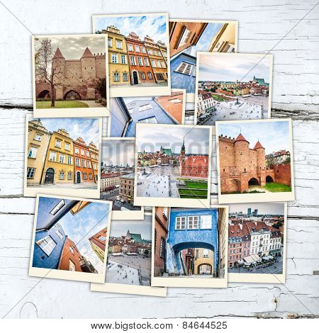 collage of sights and beautiful views of Warsaw  on wooden table