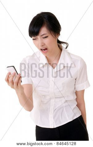Worried business woman holding cellphone and yelling, closeup portrait of Asian businessperson on white background.