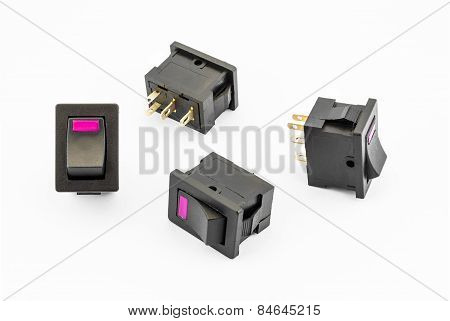 Magenta Rocker Switches With Build-in Led
