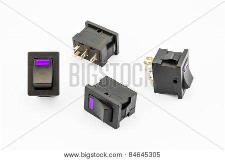 Purple Rocker Switches With Build-in Led