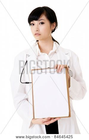 Closeup portrait of Asian medicine doctor woman on white background.