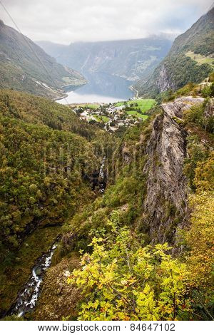 View to Geiranger fjord Norway