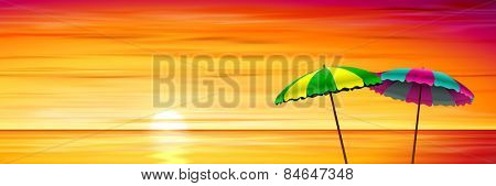 Two Parasols on a Beach with Red Sunset, Sunrise. Vector EPS 10