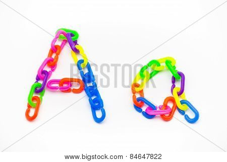 A And A Alphabet, Created By Colorful Plastic Chain
