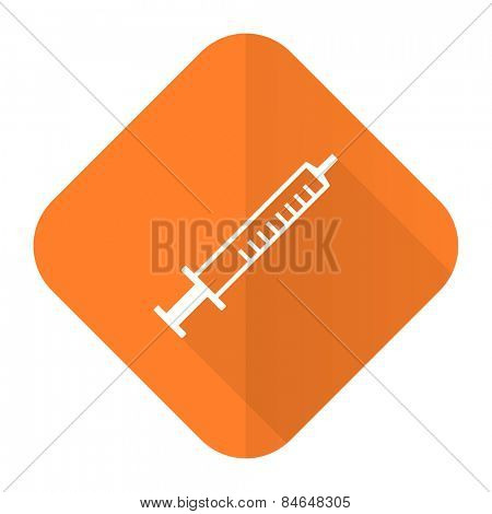 medicine orange flat icon syringe sign