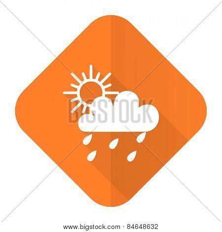 rain orange flat icon waether forecast sign