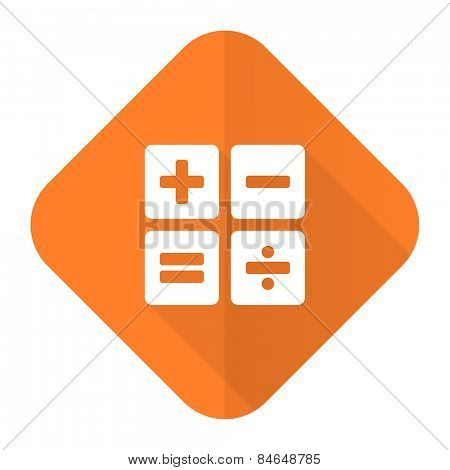 calculator orange flat icon calc sign