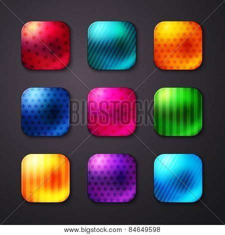 Shiny Colored Square Buttons with Stars and Lines