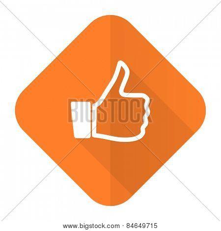 like orange flat icon thumb up sign