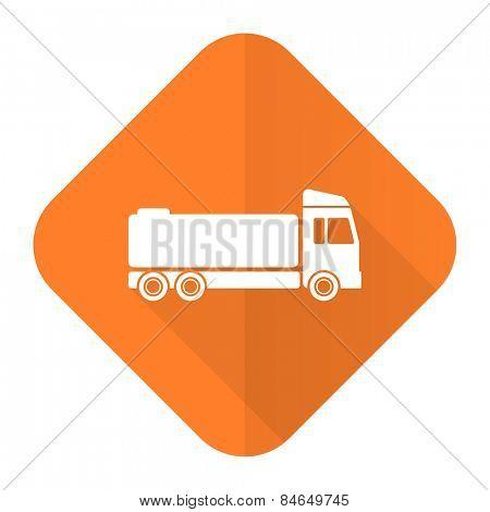 truck orange flat icon cargo sign