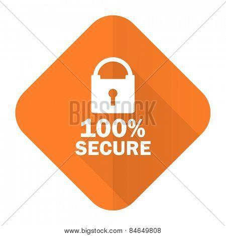secure orange flat icon