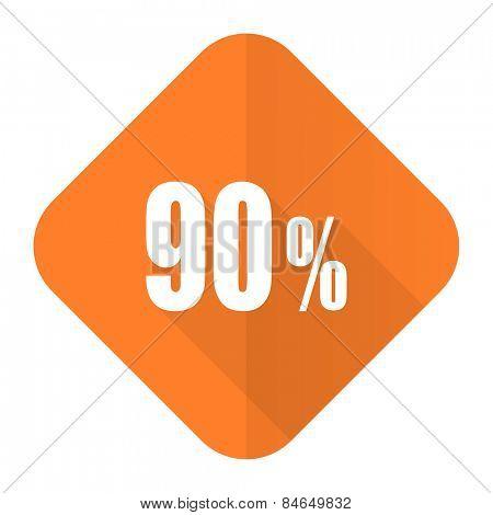 90 percent orange flat icon sale sign
