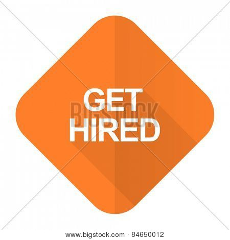get hired orange flat icon