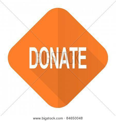 donate orange flat icon
