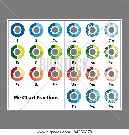 Pie Chart Info-graphic Fractions