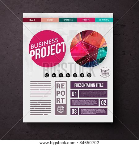Business Project title page vector template