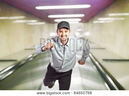 running manual worker and escalator background