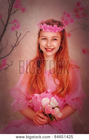 Girl With Red Hair In A Pink Dress And With Flowers