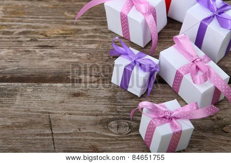 Boxes With Gifts Tied Bows