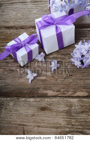 Gift Boxes And Blue Hyacinth