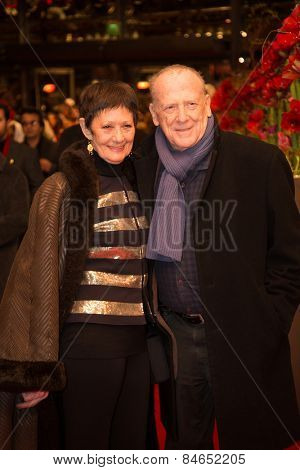 BERLIN, GERMANY - FEBRUARY 14: W. Kohlhaase and his wife Emoeke Poestenyi, Closing Ceremony. 65th Berlinale International Film Festival at Berlinale Palace on February 14, 2015 in Berlin, Germany.
