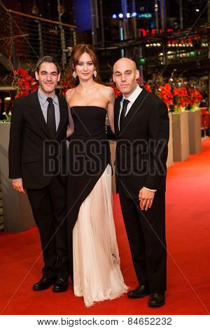 BERLIN, GERMANY - FEBRUARY 14: Fernando Eimbcke, Olga Kurylenko, Joshua Oppenheimer . Closing Ceremony of the 65th Berlinale International Film Festival on February 14, 2015 in Berlin, Germany