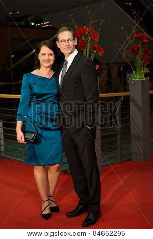 BERLIN, GERMANY - FEBRUARY 14: Claudia Mueller and Michael Mueller attend the Closing Ceremony of the 65th Berlinale International Film Festival on February 14, 2015 in Berlin, Germany.