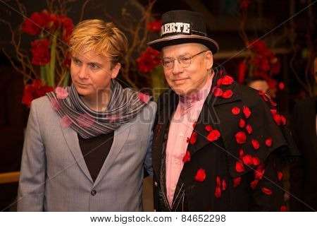 BERLIN, GERMANY - FEBRUARY 14: Oliver Sechting and Rosa von Praunheim attend the Closing Ceremony of the 65th Berlinale International Film Festival on February 14, 2015 in Berlin, Germany.