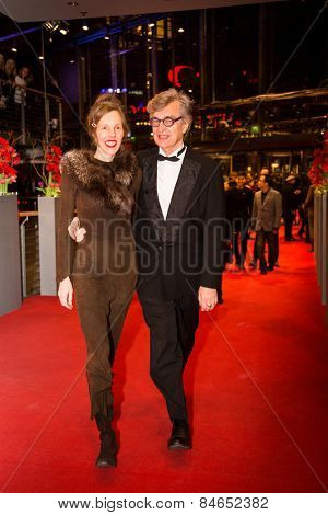BERLIN, GERMANY - FEBRUARY 14: Wim Wenders with wife Donata Wenders . Closing Ceremony of the 65th Berlinale International Film Festival at Berlinale Palace on February 14, 2015 in Berlin, Germany.