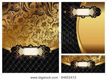 Ornate golden menu cover,