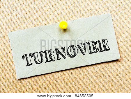 Recycled Paper Note Pinned On Cork Board.turnover Message. Concept Image