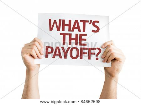 What's the Payoff? card isolated on white background