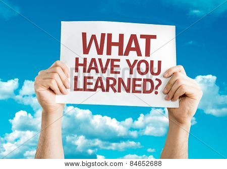 What Have You Learned? card with sky background