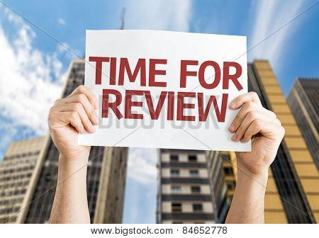 Time for Review card with urban background