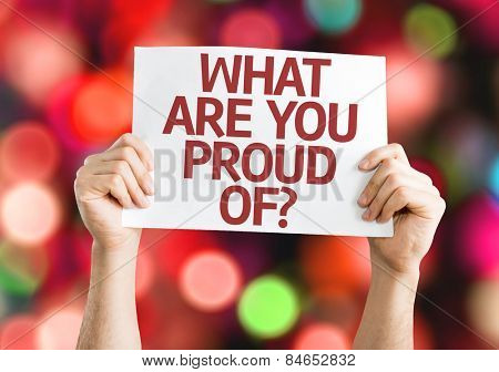 What Are You Proud Of? card with colorful background with defocused lights