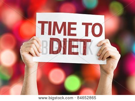 Time to Diet card with colorful background with defocused lights