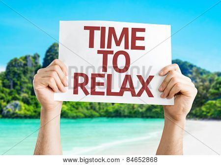 Time to Relax card with beach background